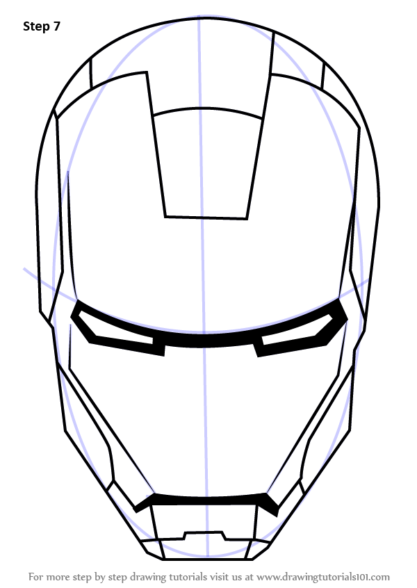 Learn How To Draw Iron Man S Helmet Iron Man Step By Step Drawing Tutorials Iron Man Drawing Iron Man Art Iron Man Helmet