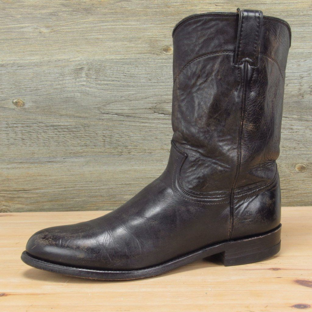 Made In Usa Men S Justin Custom Distressed Leather Roper Boots 10