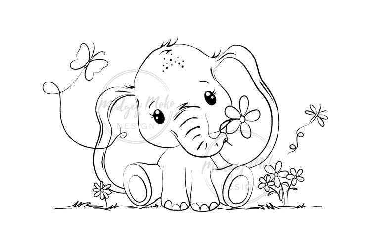 Cute Baby Elephant Digital Stamp Jpeg 1218817 Characters Design Bundles In 2021 Elephant Coloring Page Digital Stamps Cute Baby Elephant