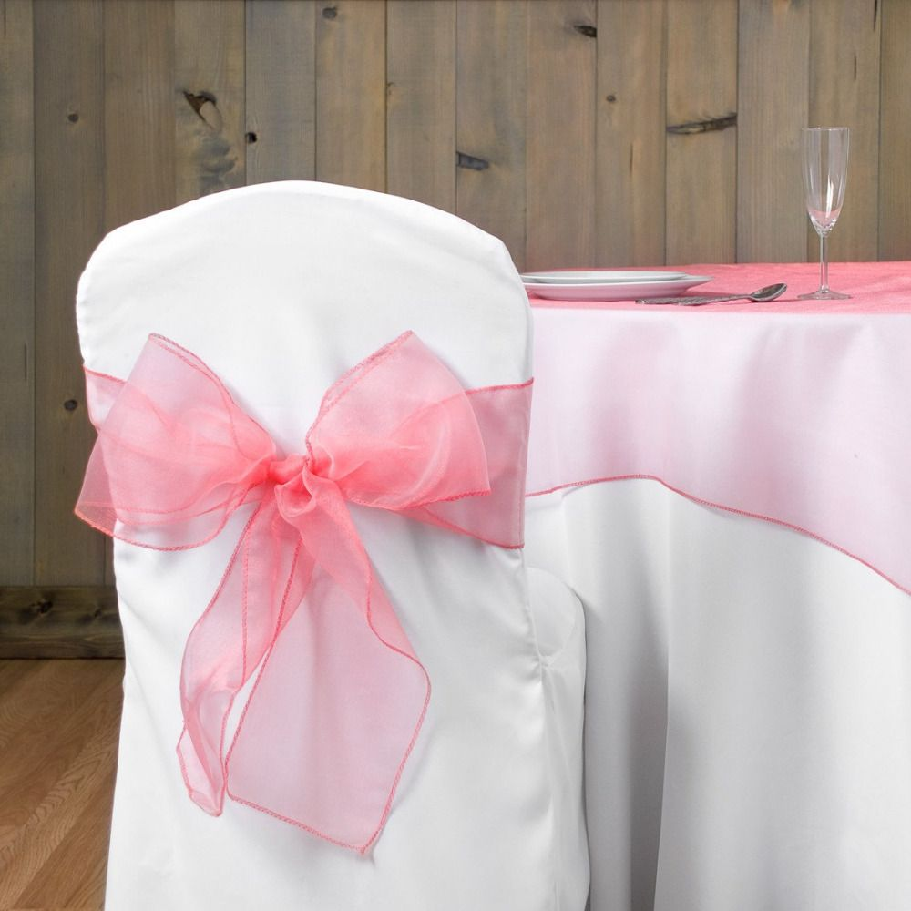 Light pink chairs - Light Pink Wedding Organza 18x275cm Organza Chair Cover Sashes Bow Sash Wedding Banquet Party Decoration Free