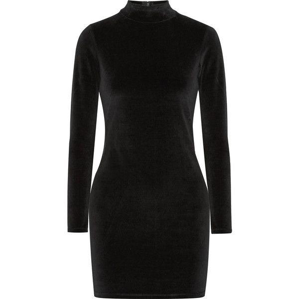 Cutout Cotton-blend Velvet Turtleneck Mini Dress - Black Alexander Wang 7O4AYxlI