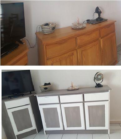Buffet 3 portes peint Avant-Après Meubles Bois Peints Pinterest - meuble en bois repeint