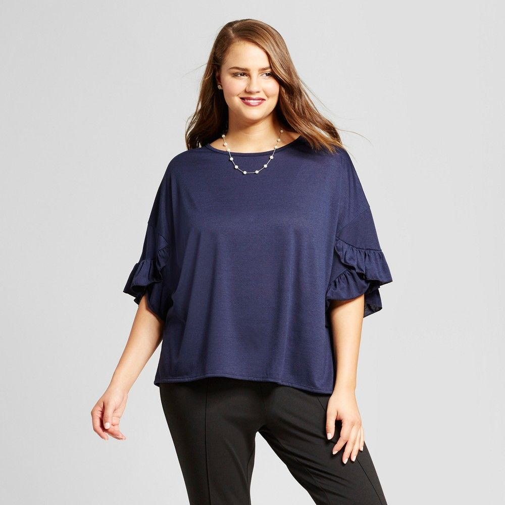 3af80545c0721 Women s Plus Size Ruffled Sleeve Blouse - Grayson Threads (Juniors ) ...