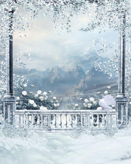 custom vinyl cloth snow christmas winter fairy land
