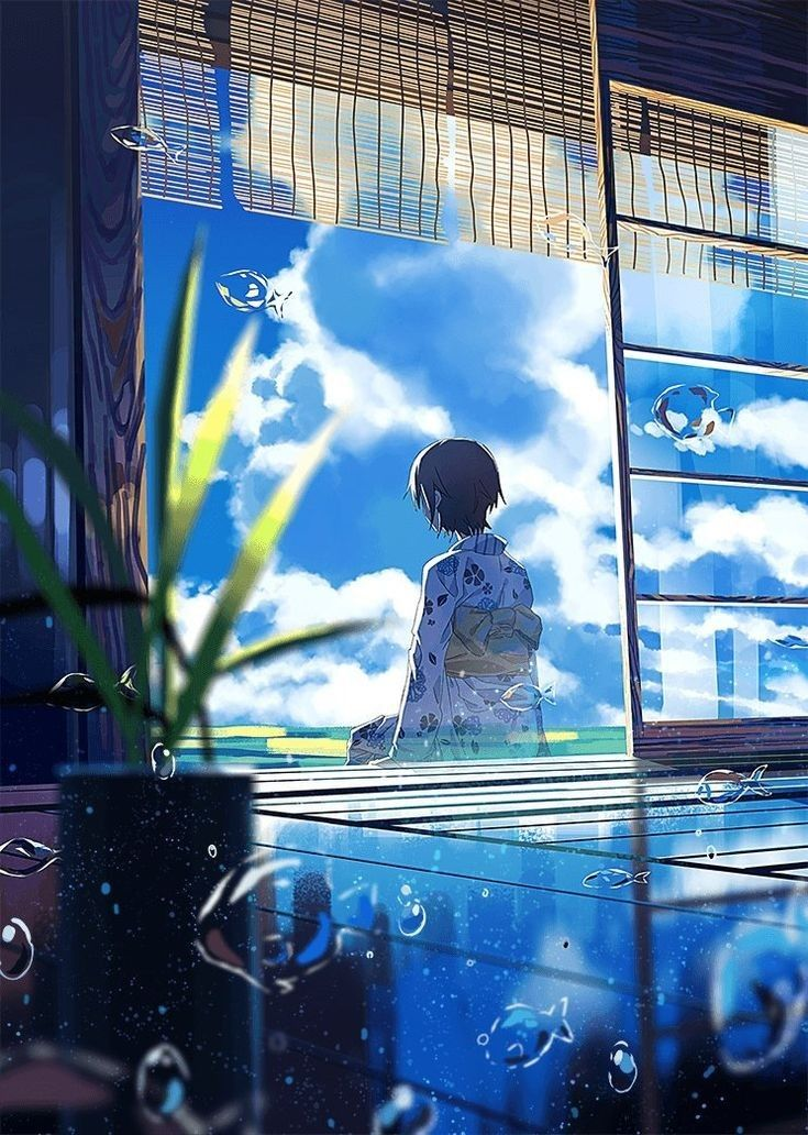 Save = Follow Me Kyorin 🍁 縁側 イラスト, 幻想的なイラスト, 夏祭り イラスト