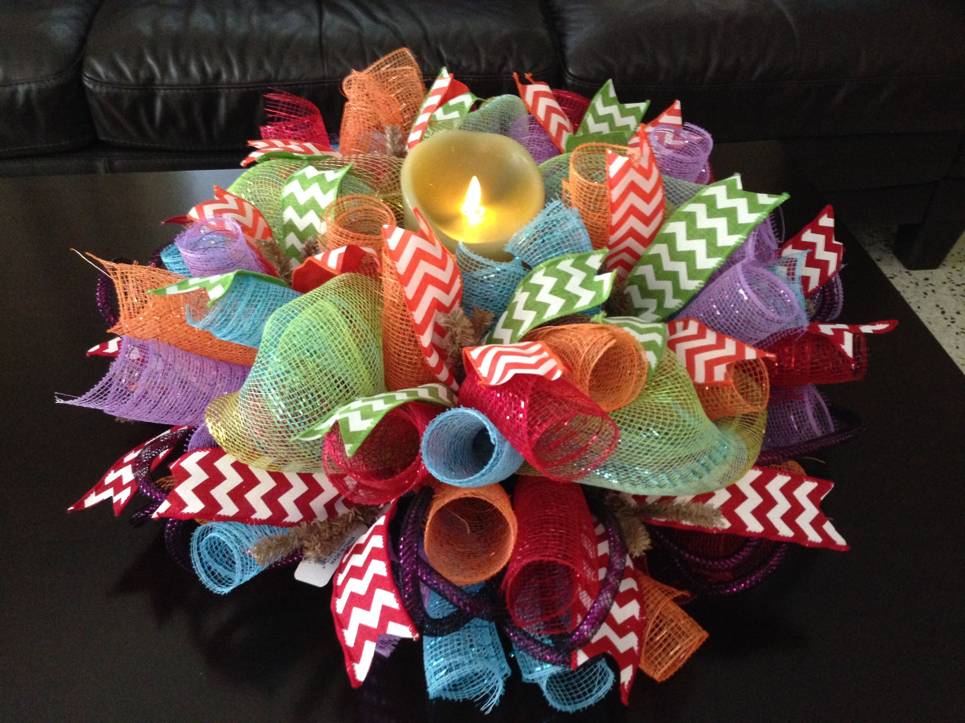 Centerpiece with multi colors ribbons https facebook
