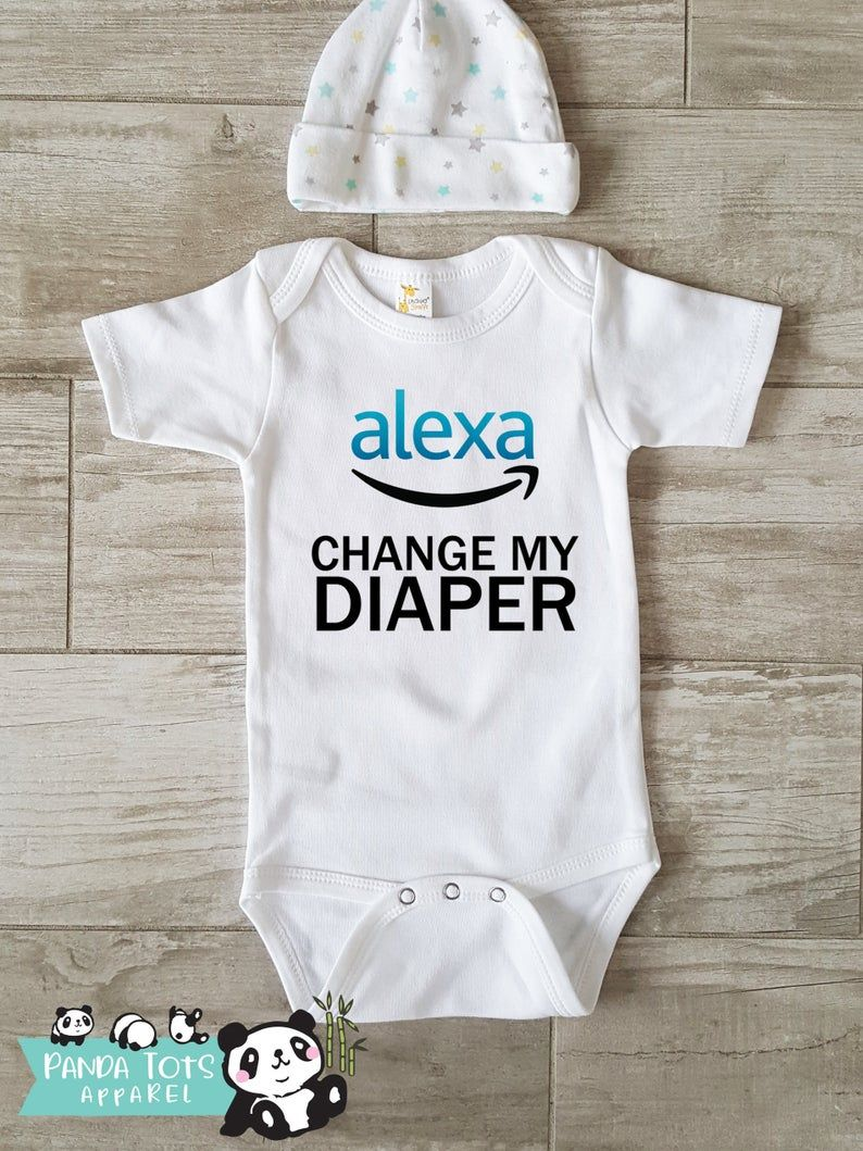 Alexa, Change My Diaper Baby - Funny Onesie - Bodysuit One-Piece -  Funny Baby Infant Newborn-  Clothes Outfit Organic Funny Cute, Hipster