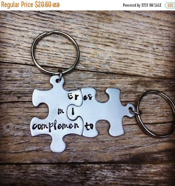 Puzzle Piece Key Chains Anniversary Gift Couple Birthday Gifts BFF Boyfriend Present Jewelry Best Friend Bilingual