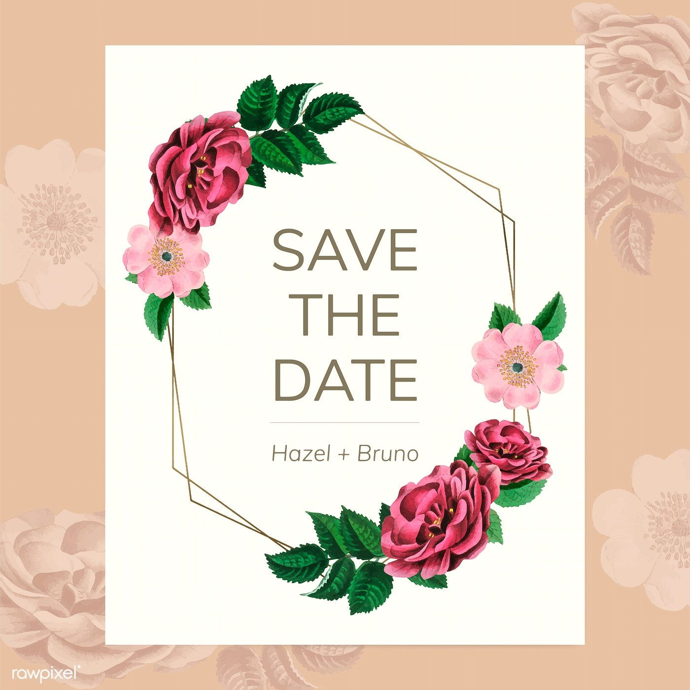 Save the date with floral frame vector free image by