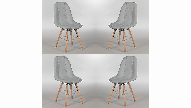 Stuhl Set TIVOLIS 4er Set Sitzschale Grau Füße Buche