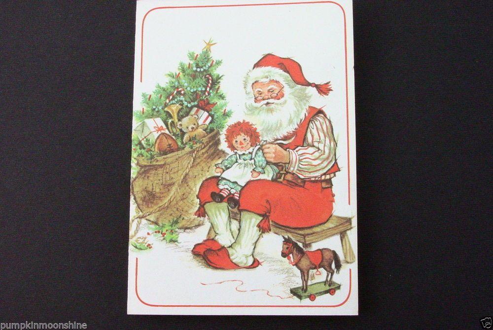 Unused Red Farm Studio Christmas Greeting Card, Santa Holding Raggedy Ann Doll