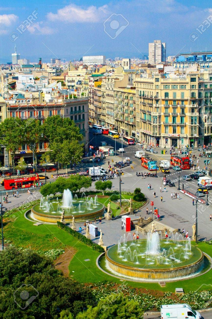Placa Catalunya Catalonia Square Barcelona Spain Stock Photo, Picture And Royalty Free Image. Image 15927563.