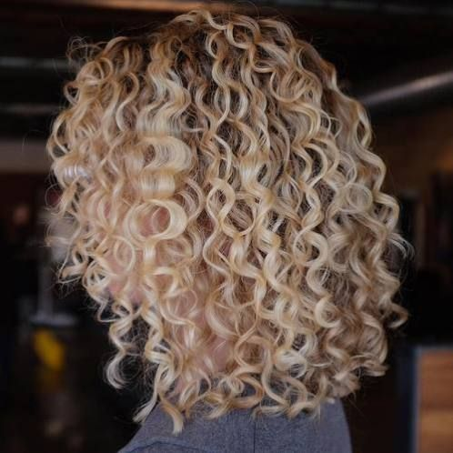 20 Hairstyles and Haircuts for Curly Hair | Blonde lob, Lob and Blondes