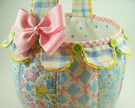 Fabric pumpkin basket treat bag easter baskets easter and sewing fabric pumpkin basket treat bag baby gift basketseaster negle