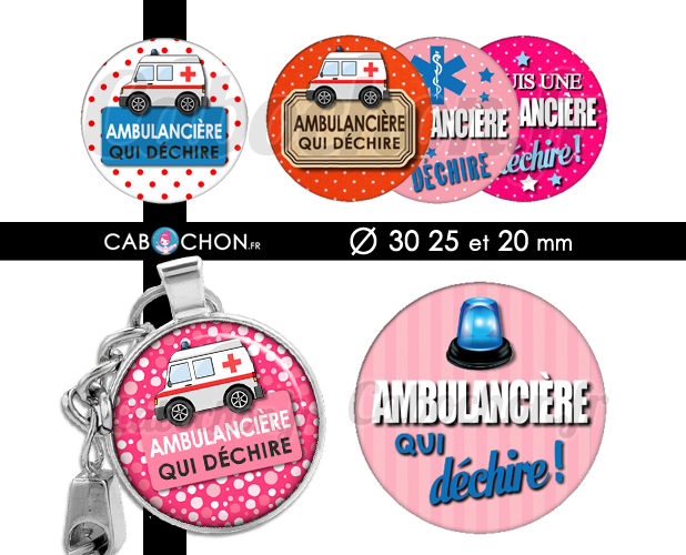Ambulanciere Qui Dechire 45 Images Rondes Cabochon Fr Ambulancier Image Digital Porte Cle