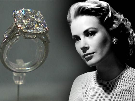 Grace Kelly's engagement photo and her 10.47 carat emerald cut diamond ring.