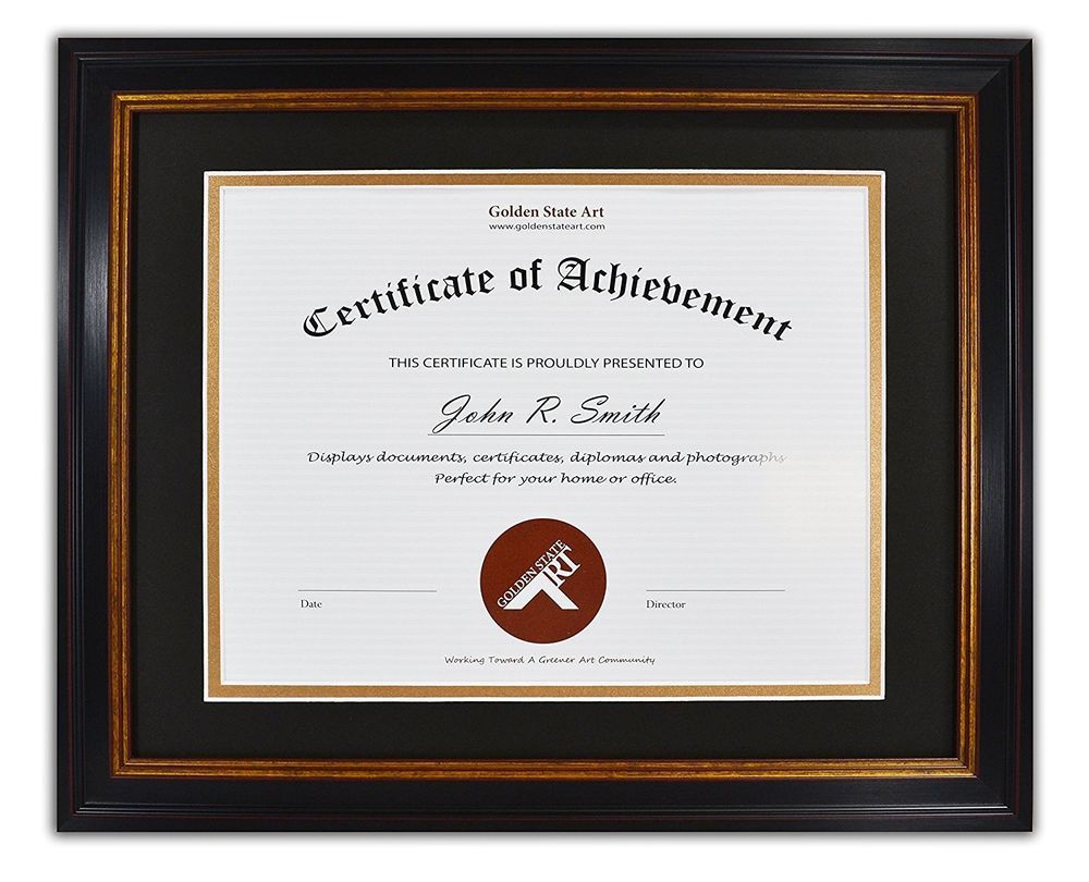 Diploma / Certificate / Document 11x14 Frame for 8.5x11, Black Gold ...