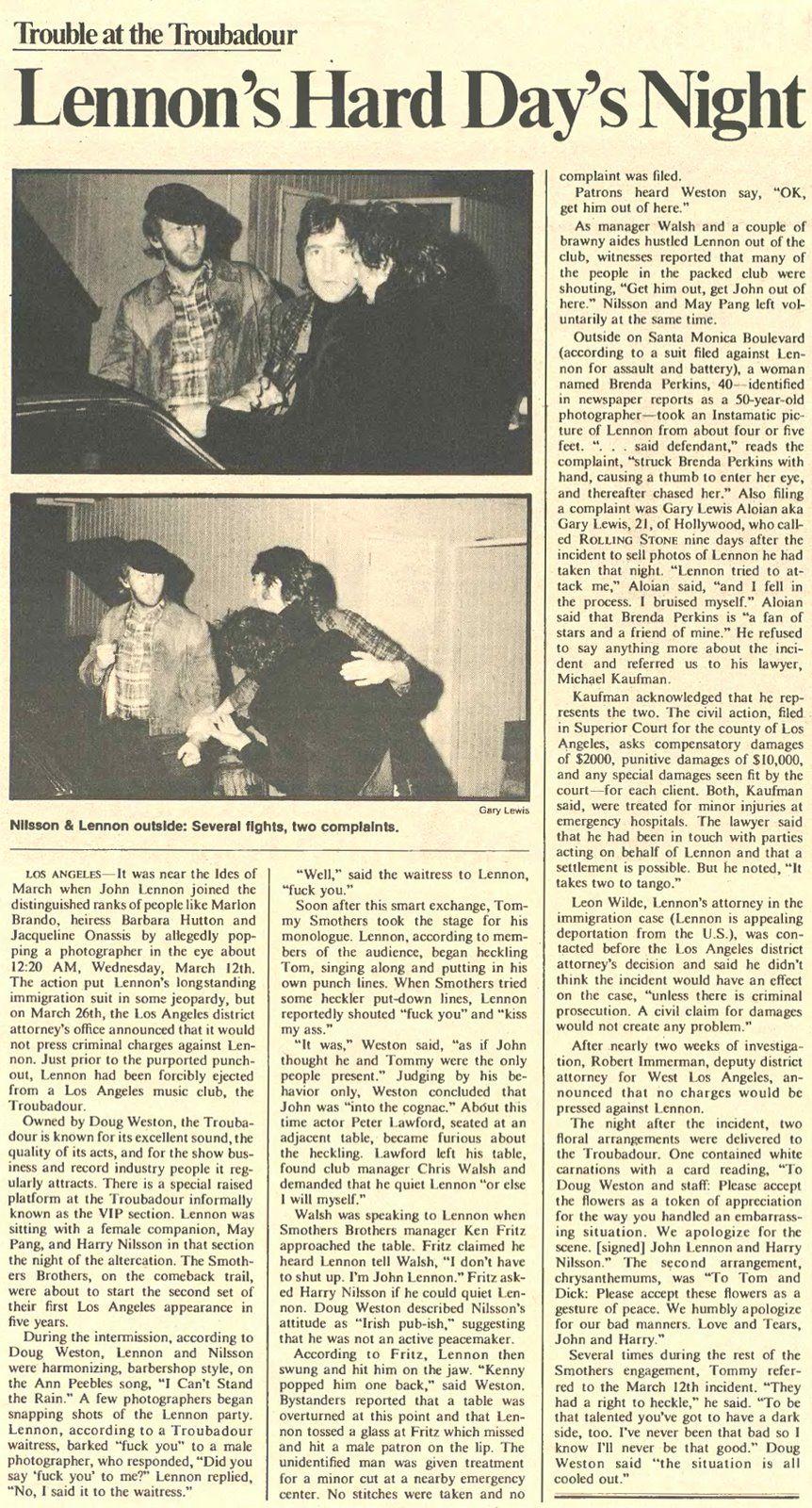 The Troubadour 'Incident', 12 March 1974 John Lennon