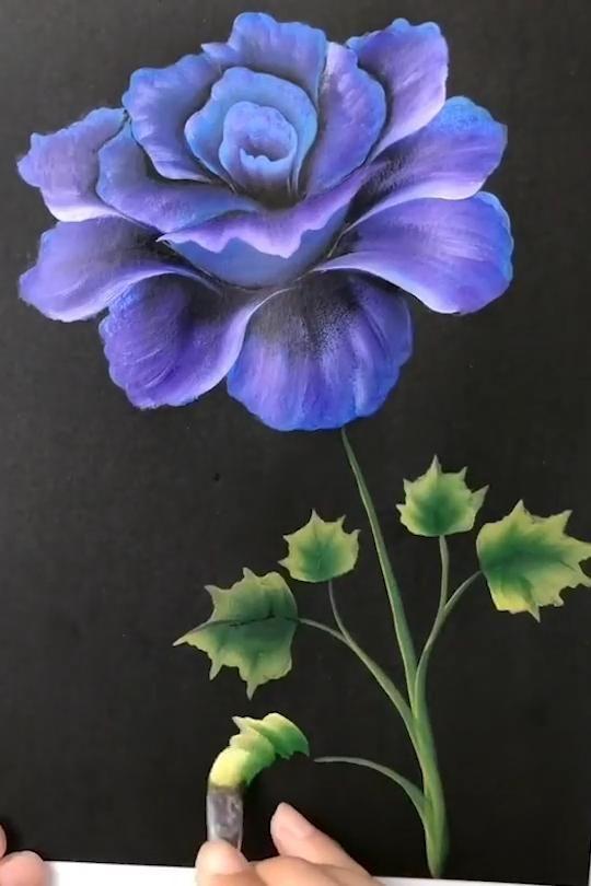 Easy Rose Painting Tutorial For Beginners Video In 2020 Flower Painting Flower Art Painting Acrylic Painting Flowers