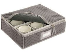 New China Cup Storage Chest Deluxe Quilted Dinnerware Storage Organization Dish