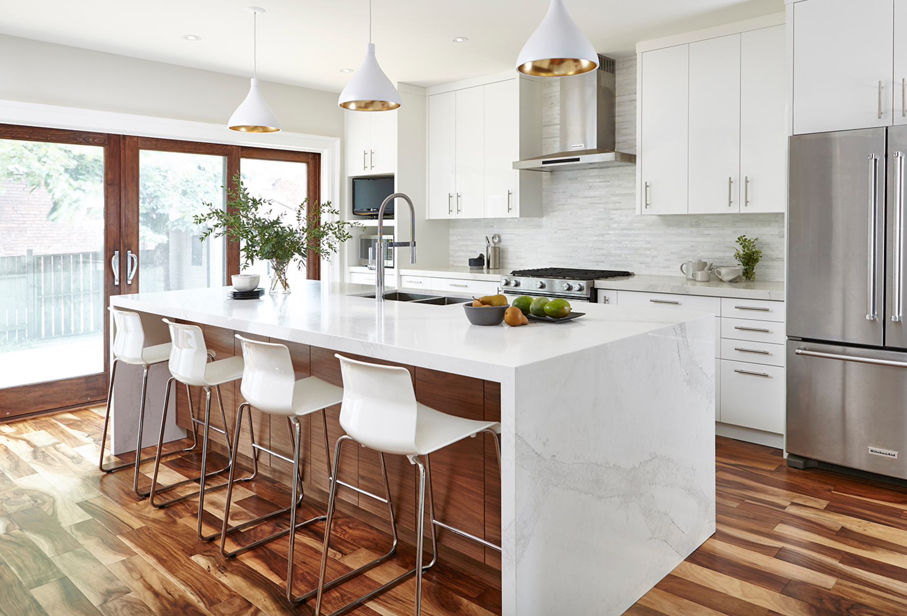 mix of wood with white cabinets and wood floors, cascade ...