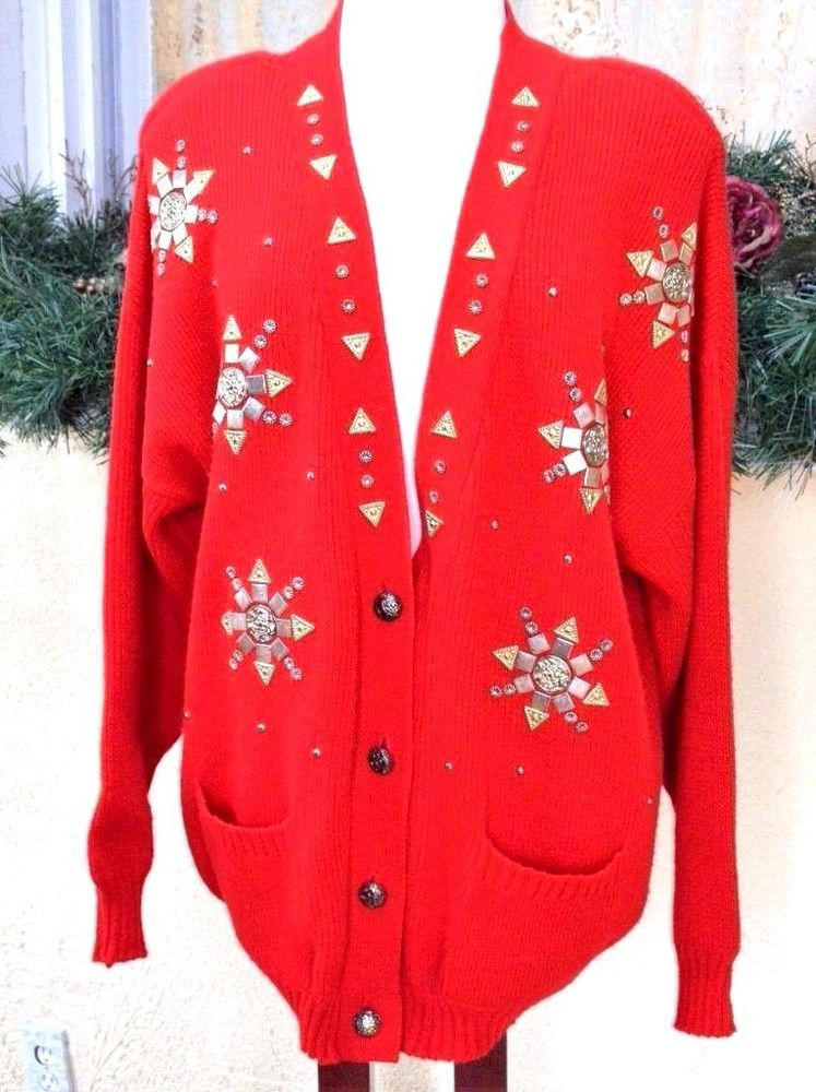 Womens 2X 3X Boyfriend Sweater Red Gold Medallions LS Pockets ...