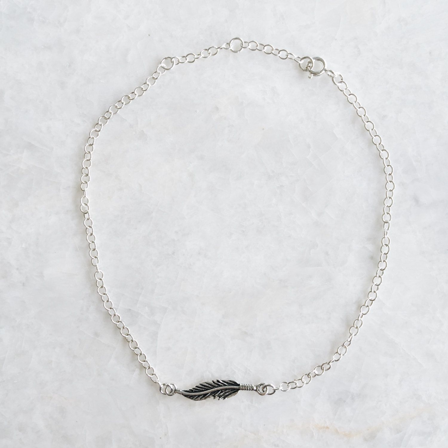 sterling feather anklet sg silver il en listing boho