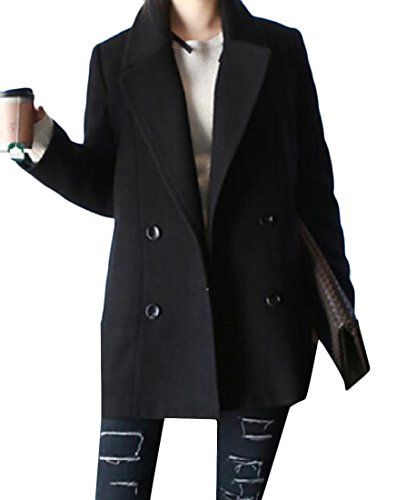xiaokong Women Double-breasted Pockets Korean Style Lapel Woolen Coat Black S