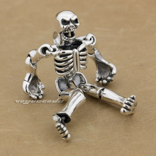 Huge-Heavy-925-Sterling-Silver-Movable-Limbs-Robot-Fashion-Pendant-9L019A-JP