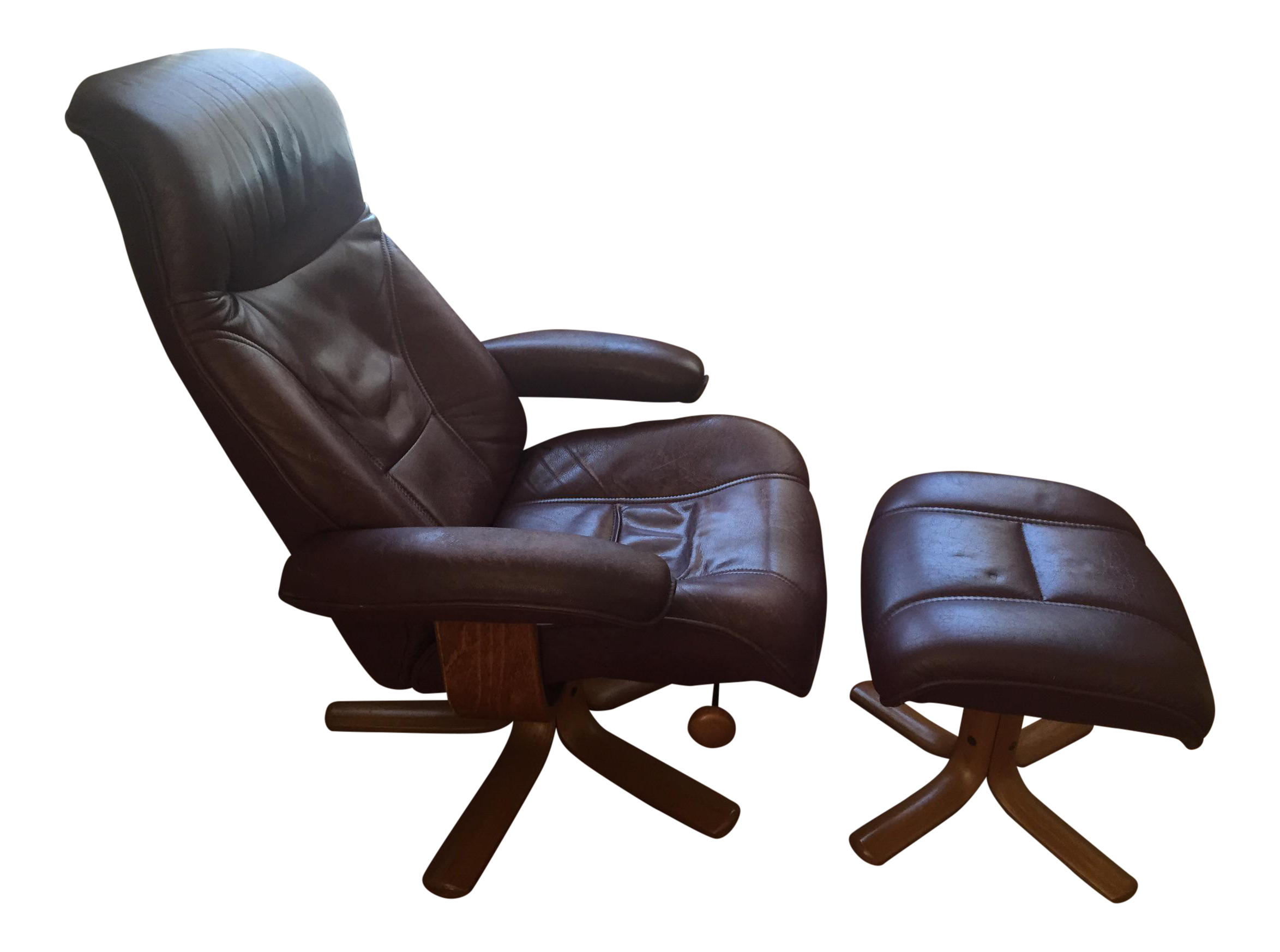 Hjellegjerde Mobler Reclining Lounge Chair and Ottoman on Chairish