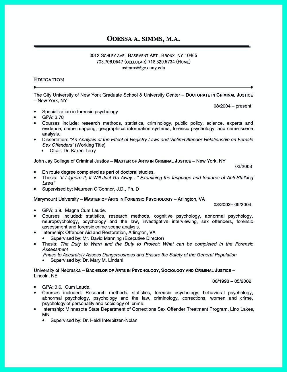 Best Criminal Justice Resume Collection From Professionals Chronological Resume Resume Examples Criminal Justice