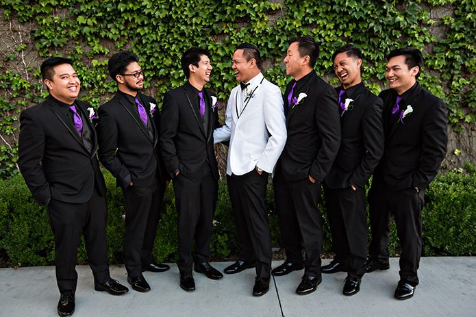 Black Kristoff Tuxedo With Purple Ties For The Groomsmen