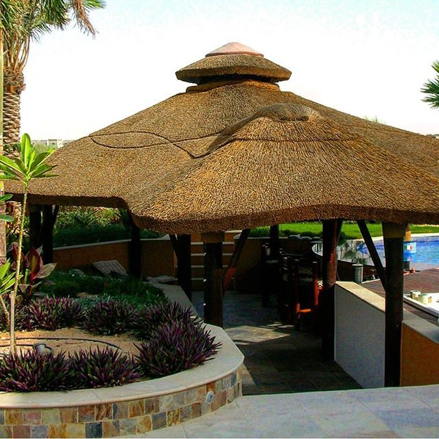 Outdoor Kitchen With Thatched Gazebo Outdoor In 2019: Thatched Gazebo With Seating Area And Swim-up Poolbar
