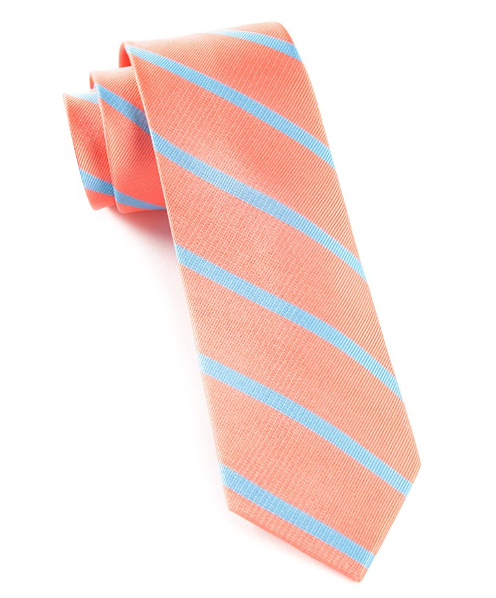 3366469e363d The Tie Bar: Trad Stripe Ties Coral 3 In. Regular Length - 58 In. in ...