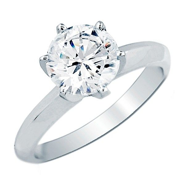 Round Diamond Solitaire Engagement Ring 1 Carat (ctw) in 14K White Gold