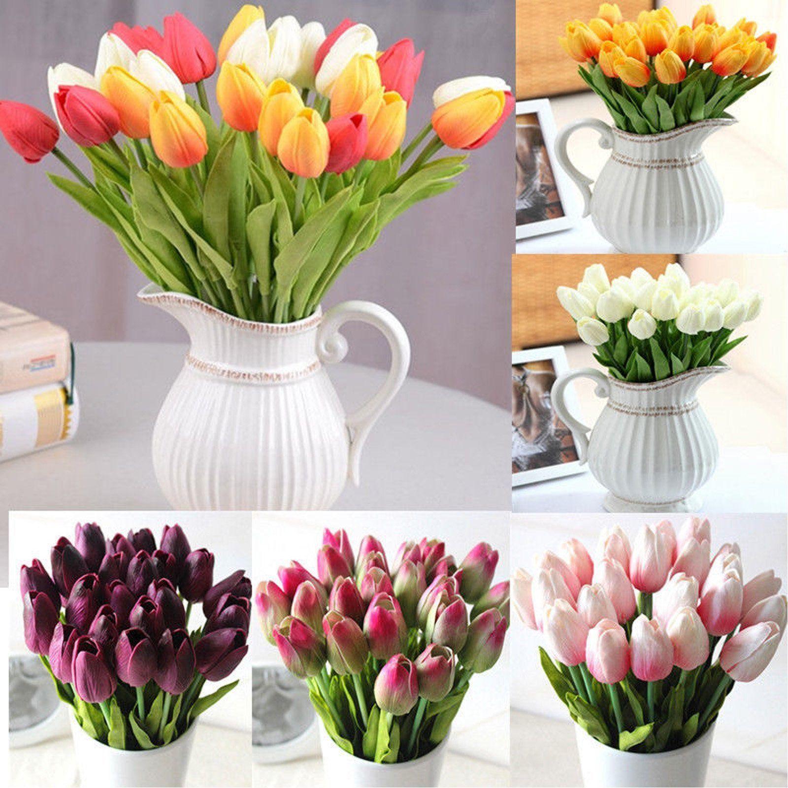10Pcs Artifical PU White Tulips Flower Single Stem Bouquet