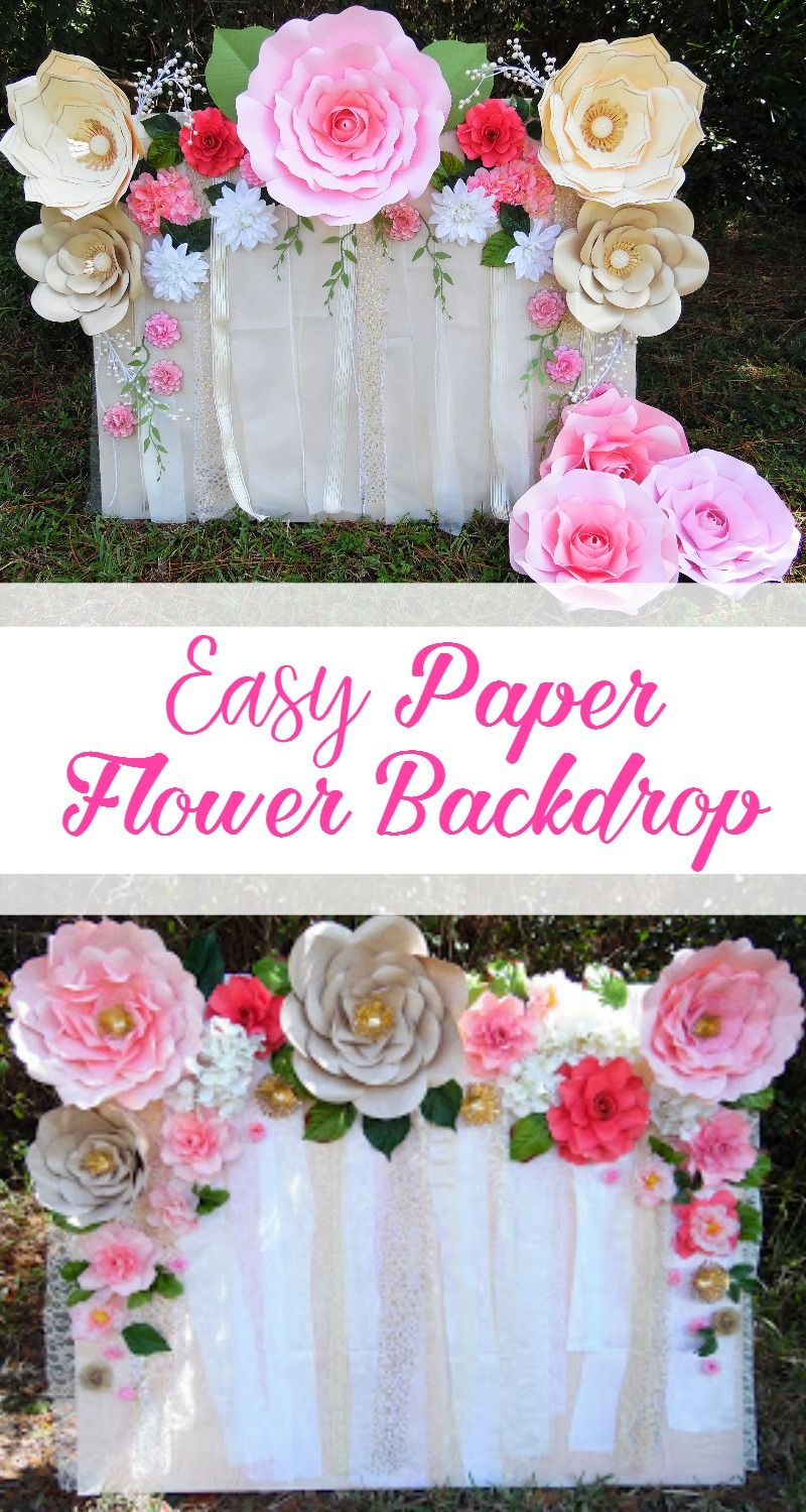 Learn how to make this quick and easy paper flower backdrop Flower