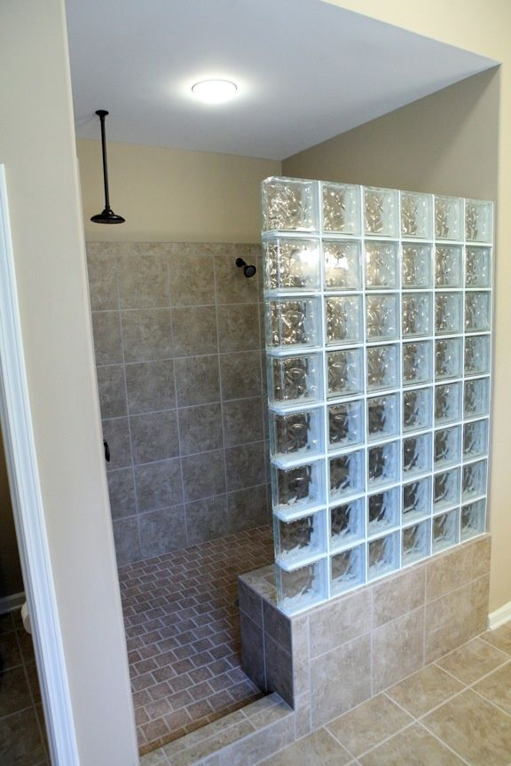 Shower With Glass Block Tiles Google Search Bathroom