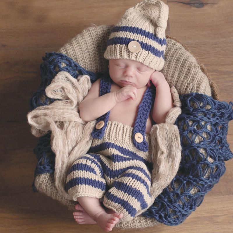 42408278e43 Best Boys Clothing Sets Newborn Baby Photography Props Crochet Costume  Striped Soft Outfits Beanie + Pants Wholesale Clothing Under  20.74