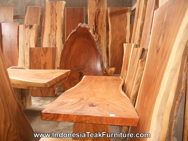 Big wood slabs from Bali. Wooden table with live edge. Wood table