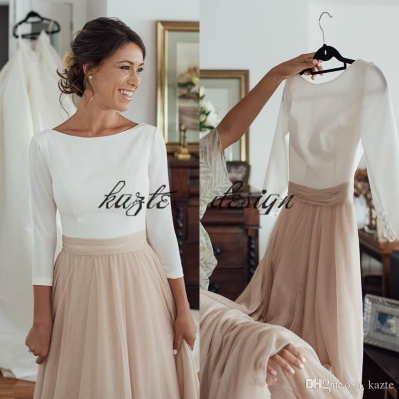 Two Tone Country Long Sleeve Wedding Dresses 2018 Plus Size ...