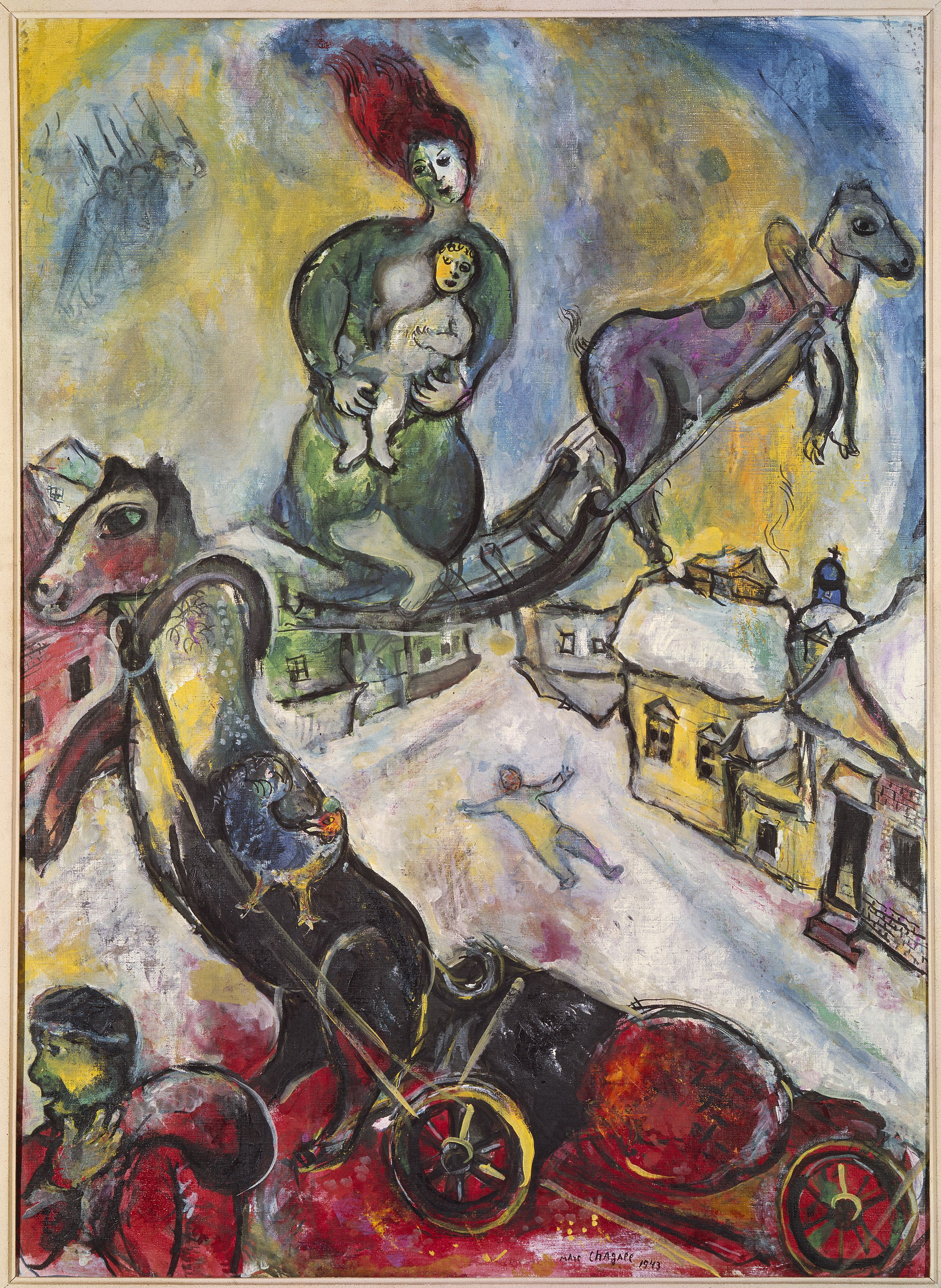 Marc Chagall, The War, 1943, oil on canvas, 41 2/3 x 29 7/8 in. Musée National…