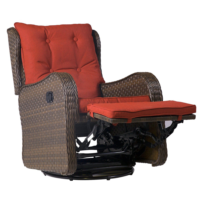Amazon.com : Cloud Mountain Patio Wicker 360 Degree Swivel Gliding Rocking  Rattan Cushioned Chair