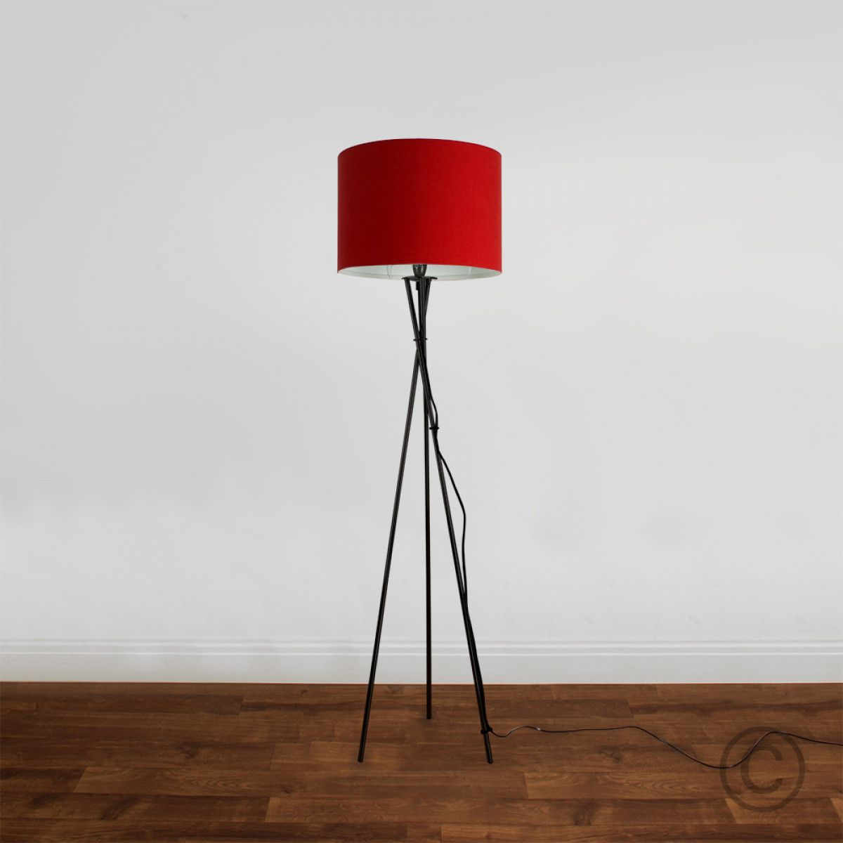 Camden Tripod Floor Lamp In Black Red Fabric Shade In 2019