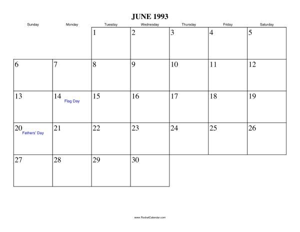 Free Printable Calendar For June 1993 View Online Or Print In Pdf