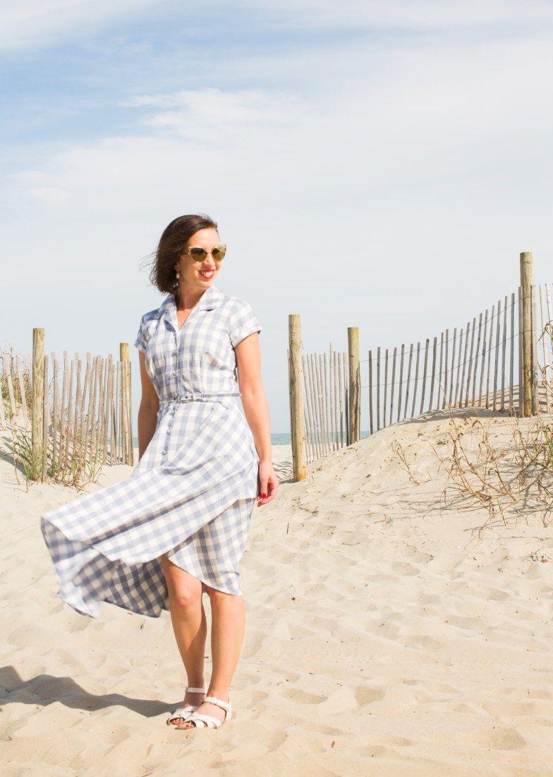 4b9908626d8bb Unique Vintage 1950s Style Light Blue   White Gingham Alexis Short Sleeve  Swing Dress