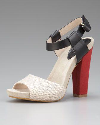 Colorblock sandals- black, cream,red