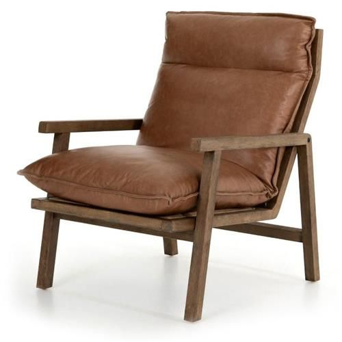 Jayden Modern Classic Tan Brown Leather Wood Arm Chair Saddle Leather Chair Leather Chair Leather Armchair