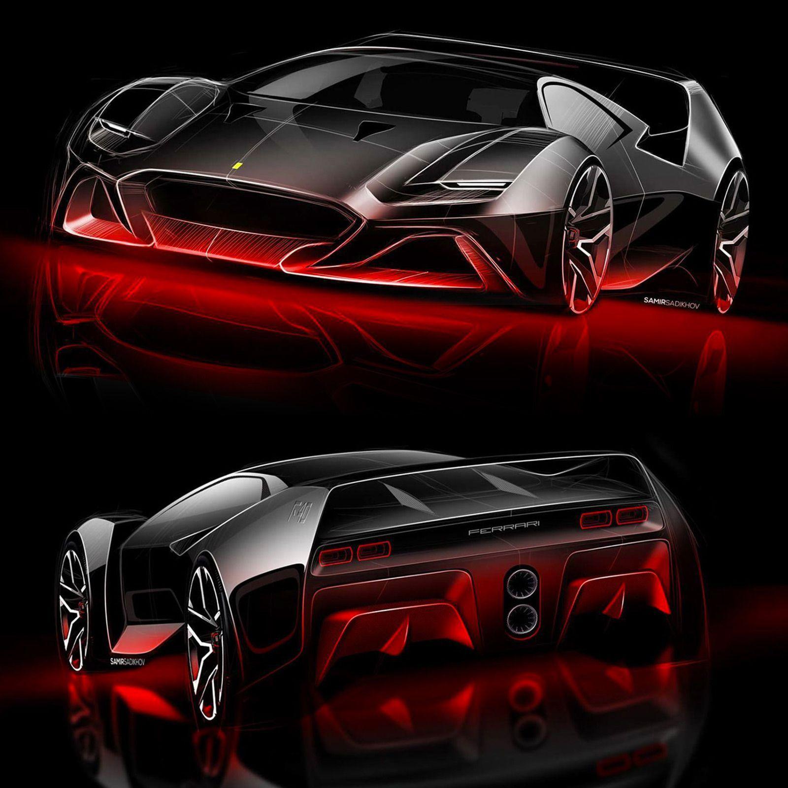 F40 Tribute Concept By Samir Sadikhov: Design Sketches