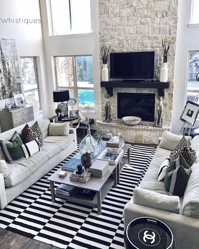 Black And White Striped Rug Living Room With Black And White